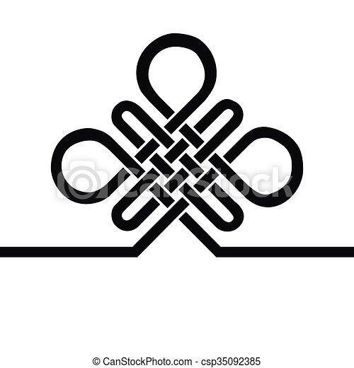 ed992b838 Auspicious Endless knot.Buddhist symbol.Black template - csp35092385