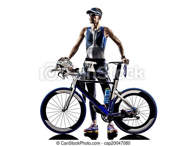 ausrüstung, triathlon, athlet, eisen, mann - csp20047080