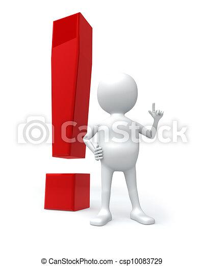 ausruf, groß, freigestellt, zeichen, hintergrund., weißes, mann, rotes , 3d - csp10083729