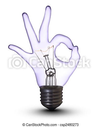 ausschnitt, ok, (with, hand, lampe, zwiebel, weißes, path) - csp2480273