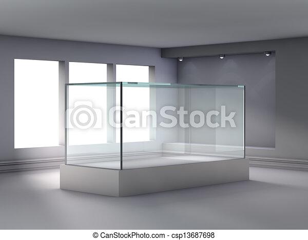 3d-Glas-Ausstellung und Nische mit Scheinwerfern für Ausstellungen in der Galerie - csp13687698