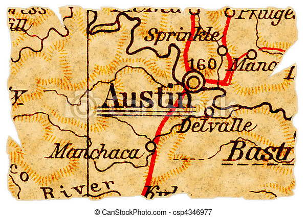 Old Map Of Texas.Austin Old Map