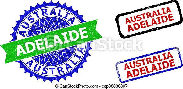 AUSTRALIA ADELAIDE Rosette and Rectangle Bicolor Seals with Unclean Textures - csp88836897