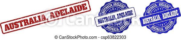 AUSTRALIA, ADELAIDE Scratched Stamp Seals - csp63822303