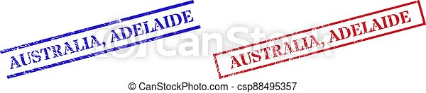 AUSTRALIA, ADELAIDE Textured Scratched Stamp Seals with Rectangle Frame - csp88495357