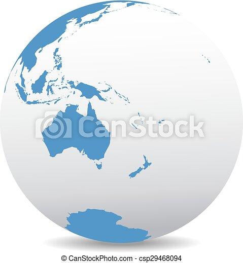 New Zealand Global Map.Australia And New Zealand World