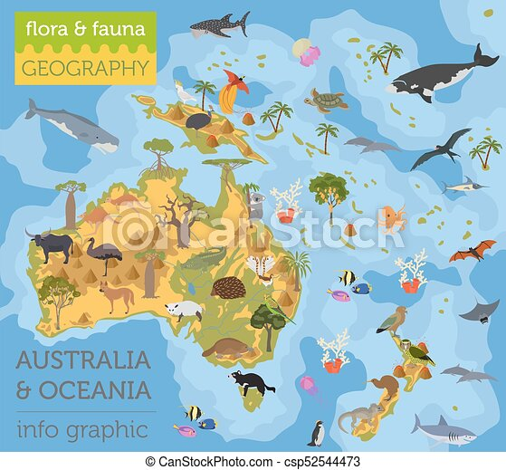 Australia and Oceania flora and fauna map, flat elements. Animals, birds  and sea life big set. Build your geography infographics collection