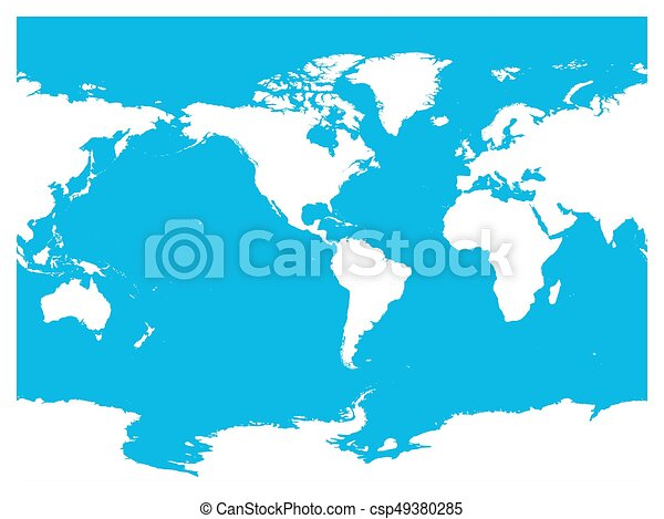 Australia and pacific ocean centered world map high detail australia and pacific ocean centered world map high detail white silhouette on blue background gumiabroncs Images