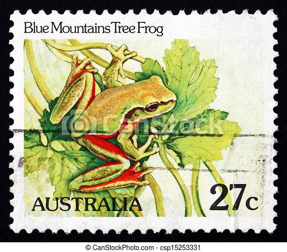 AUSTRALIA - CIRCA 1981: a stamp printed in the Australia shows Blue Mountains Tree Frog, Litoria Citropa, Amphibian, circa 1981 - csp15253331