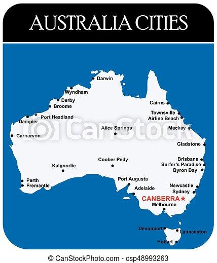 Australia Main Cities Map.Australia Cities Map