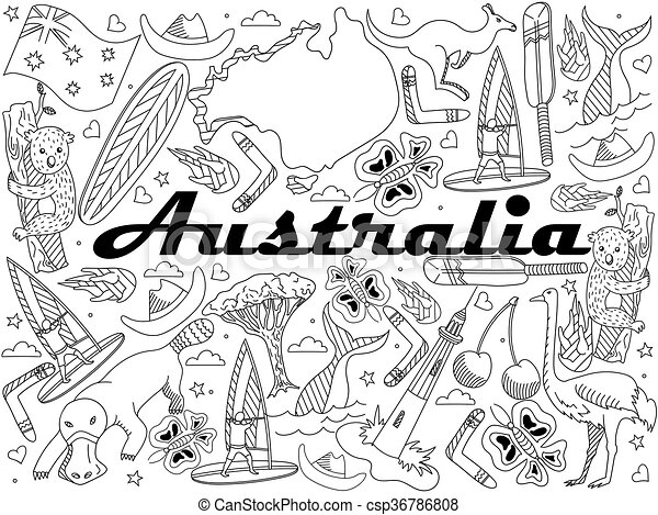 Australia Coloring Vector Illustration