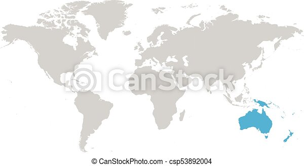 Australia Continent Blue Marked In Grey Silhouette Of World Map. Simple  Flat Vector Illustration.