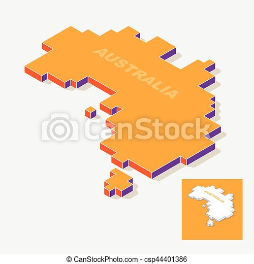 Australia continent map element with 3d isometric shape isolated on ...