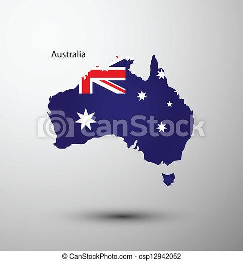 Australia flag on map - csp12942052