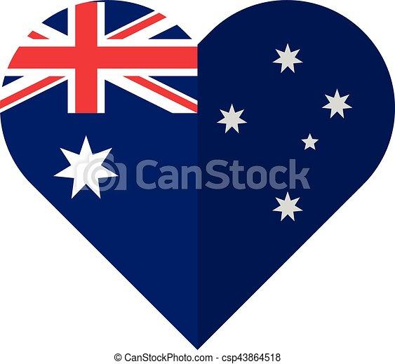 Australia flat heart flag - csp43864518