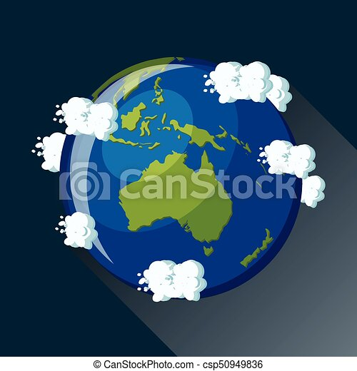 australia map on planet earth view from space australia globe icon planet earth globe map with blue ocean green continents and clouds around cartoon