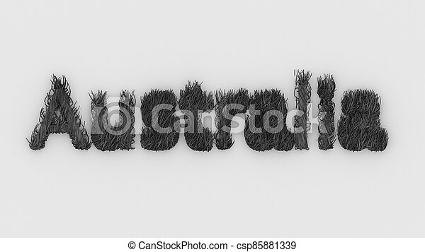 Australia - gray word 3d on fire, Pray For Australia , typography design with forest fires and silhouette of wild animals kangaroo, koala. illustration render. continent disaster, danger ecology. - csp85881339