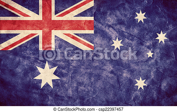 Australia grunge flag. Item from my vintage, retro flags collection - csp22397457
