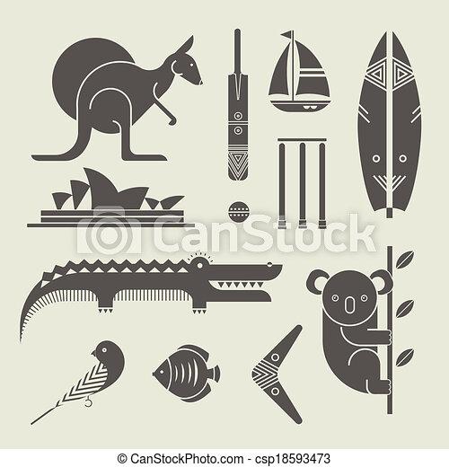 australia icons - csp18593473