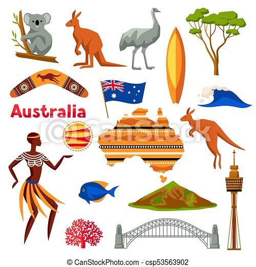 Australia Icons Set Australian Traditional Symbols And Vector