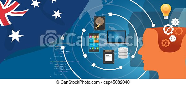 Australia IT information technology digital infrastructure connecting business data via internet network using computer software an electronic innovation - csp45082040