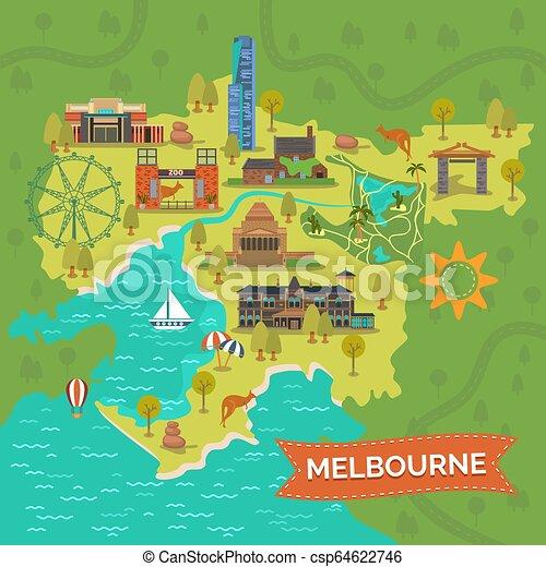 Melbourne Australia Karte Karte Von Melbourne Mit Schrein Der