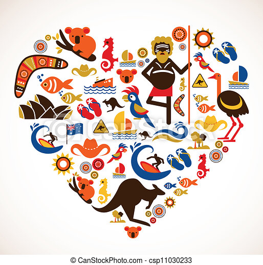 australia love heart with set of vector icons australia australian clip art free australia clipart black and white