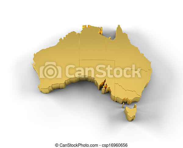 Australia Map And States.Australia Map 3d Gold With States