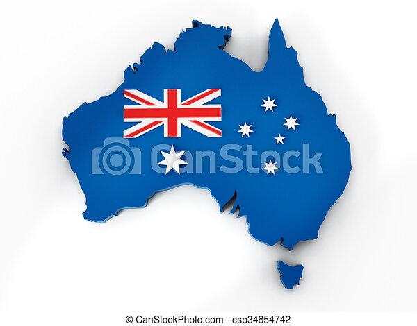 Australia map and flag - csp34854742