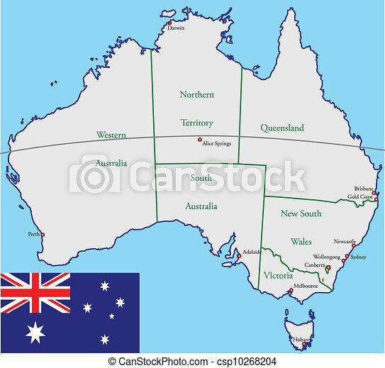 Australia map and flag - csp10268204