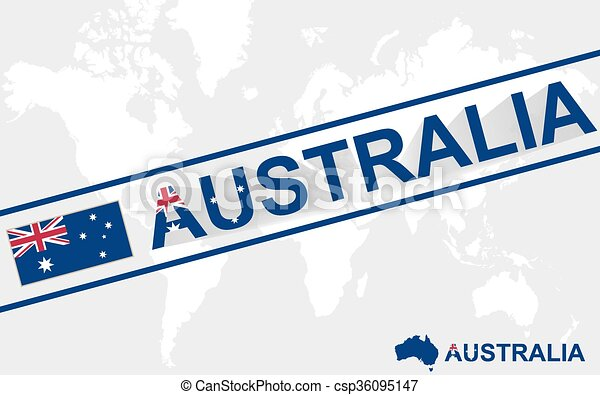 Australia map flag and text illustration - csp36095147