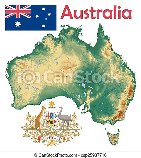 Australia Map And Flag.Australia Map Flag Coat