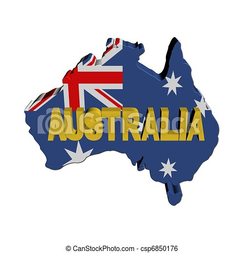 Australia map flag with text - csp6850176