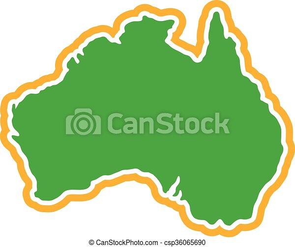 Australia Map Geography Shape - csp36065690