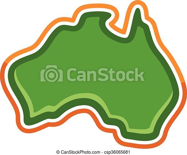 Australia Map Geography Shape - csp36065681