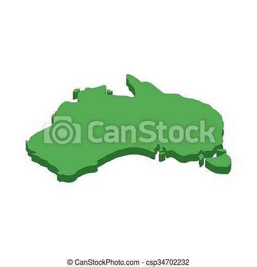 Australia Map Icon.Australia Map Icon Isometric 3d Style
