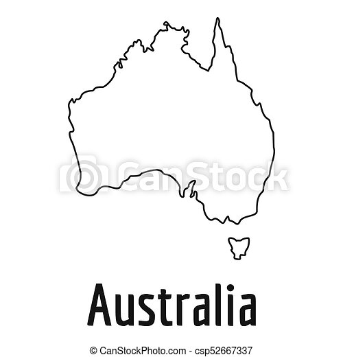 Australia Map Simple.Australia Map Thin Line Simple