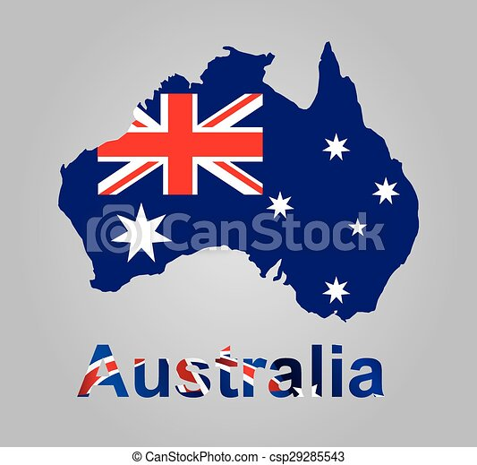 Australia map with flag inside - csp29285543