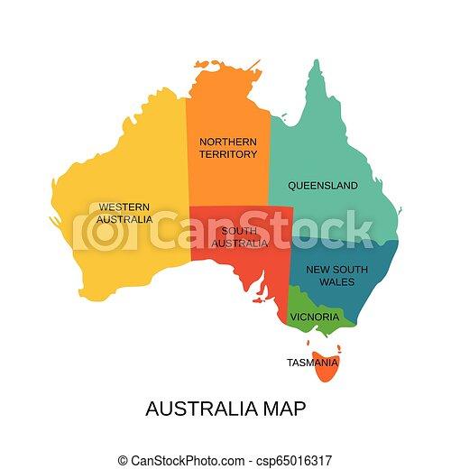 Australia Map Art.Australia Map With Regions Vector Illustration Australian State Territory