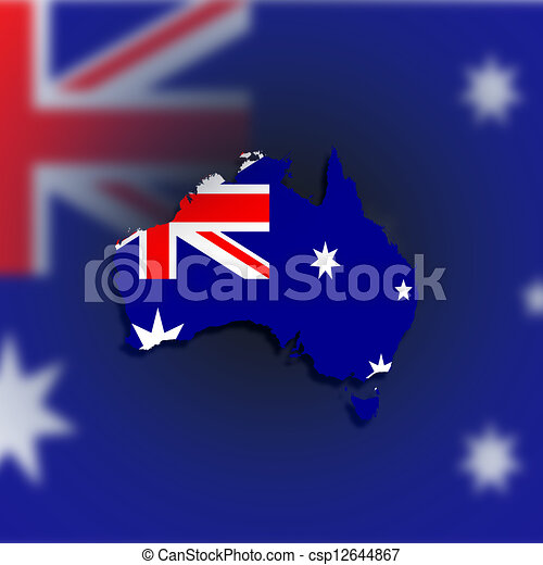 Australia map with the flag inside - csp12644867