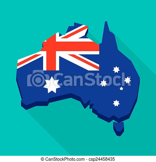 Australia map with the national flag - csp24458435
