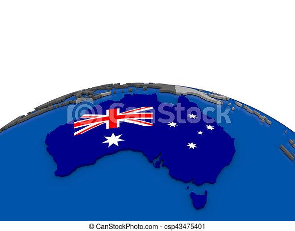 australia on 3d globe csp43475401
