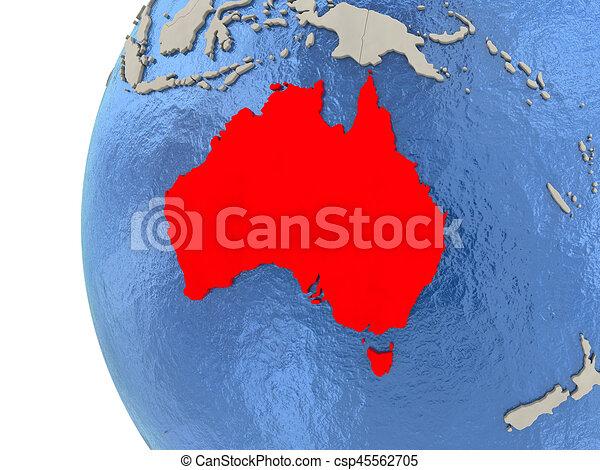 Australia on 3D globe - csp45562705