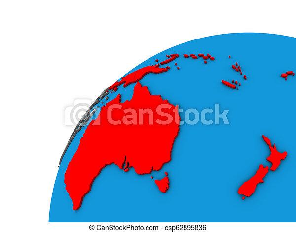 Australia on 3D globe - csp62895836