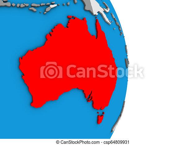 Australia on 3D globe - csp64809931