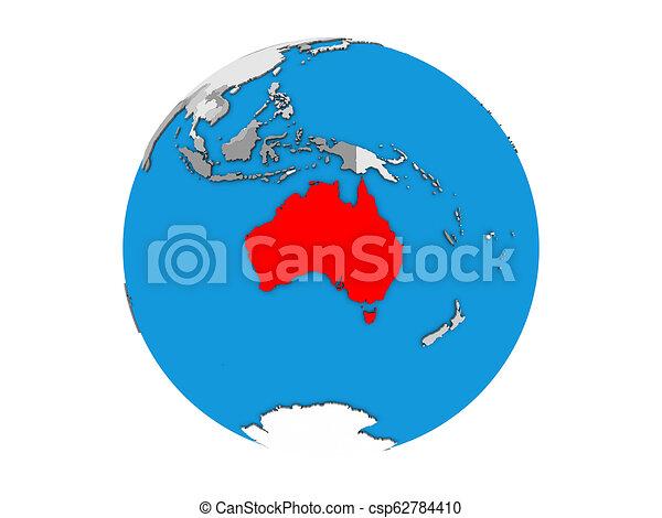 Australia on 3D globe isolated - csp62784410