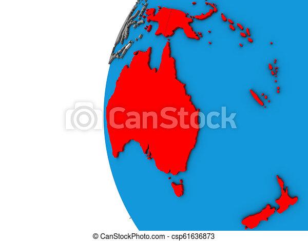 Australia on 3D globe - csp61636873