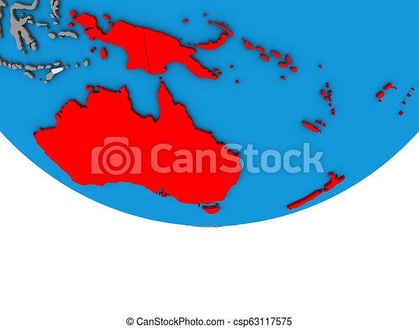 Australia on 3D globe - csp63117575