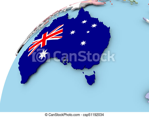 Australia Map Globe.Australia On Globe With Flag