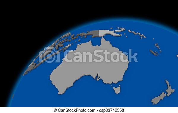 australia on planet earth political map csp33742558